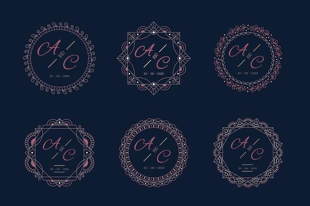 Monogramas de casamento de luxo com moldura