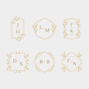 Monogramas de casamento design elegante