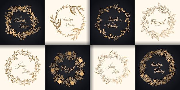 Monogramas de casamento e conjunto de borda floral