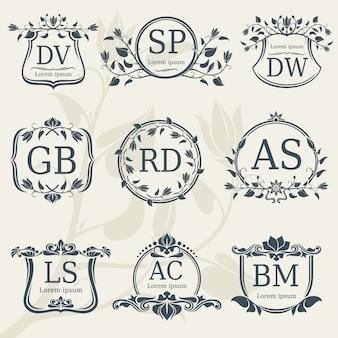 Monogramas de casamento elegância vintage com quadros florais