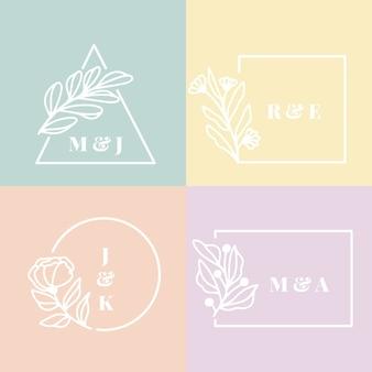Monogramas de casamento em design de cores pastel