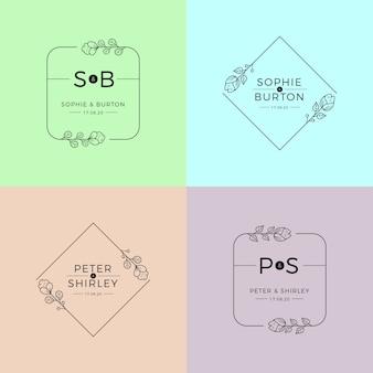 Monogramas de casamento em modelo de cores pastel