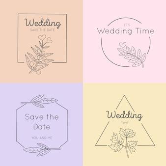 Monogramas de casamento em pacote de cores pastel