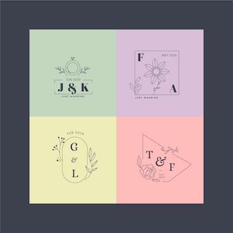 Monogramas de casamento em pacote minimalista de cores pastel