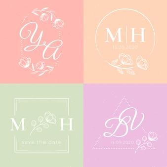 Monogramas de casamento em tons pastel