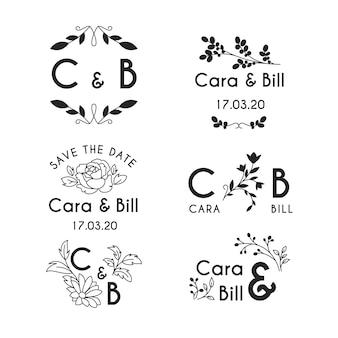 Monogramas de casamento estilo floral