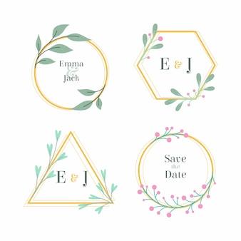 Monogramas de casamento floral com ramos de flores