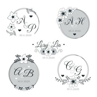 Monogramas de casamento floral