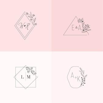 Monogramas de casamento lindo em cores pastel