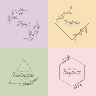 Monogramas de casamento lindo na coleção de cores pastel