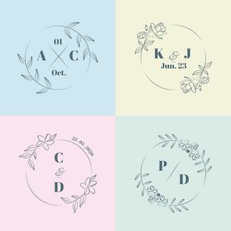 Monogramas de casamento minimalista colorido em cores pastel