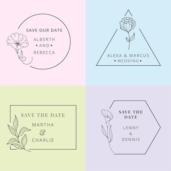 Monogramas de casamento minimalista, definidos em tons pastel