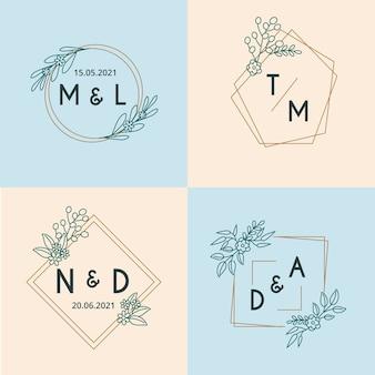 Monogramas de casamento minimalista na coleção de cores pastel