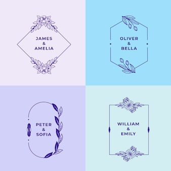 Monogramas de casamento minimalistas em pacote de cores pastel