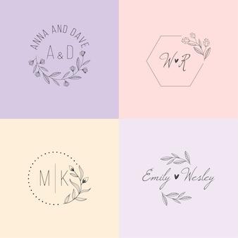 Monogramas de casamento na coleção de cores pastel