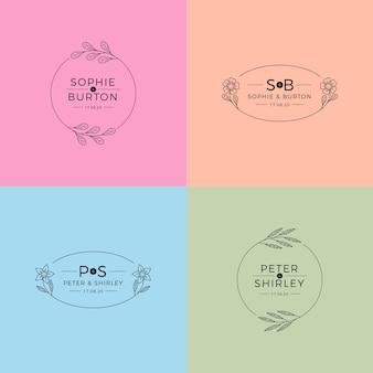 Monogramas de casamento no conceito de cores pastel