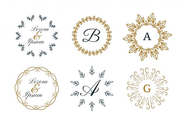 Monogramas de casamento ou logotipos decorativos em conjunto de estilo mandala