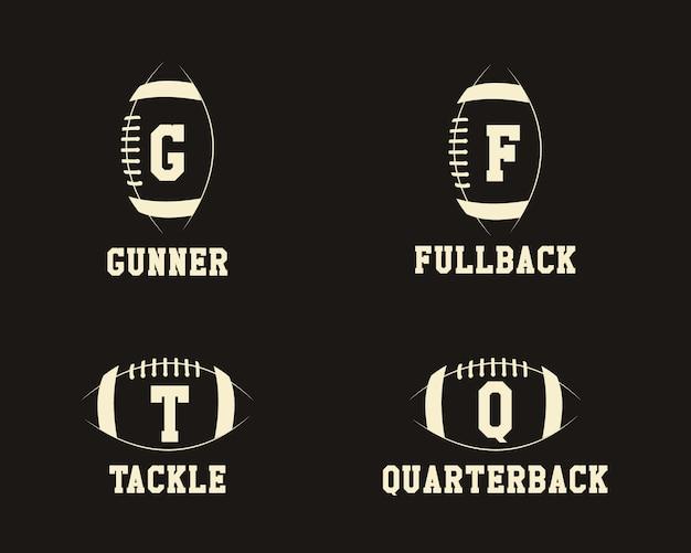 Monogramas de distintivo de futebol americano com posições