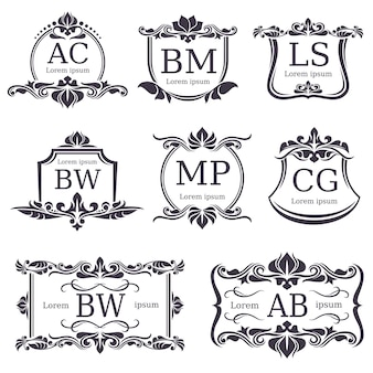 Monogramas de logotipo de luxo com elementos de ornamento decorativo e letras. conjunto de vetores