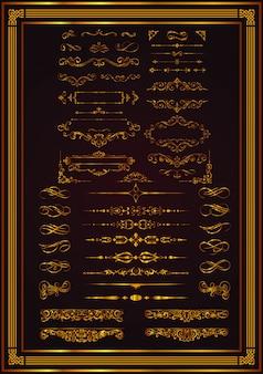 Monogramas decorativos e bordas caligráficas em dourado