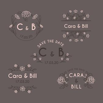 Monogramas do casamento do design floral