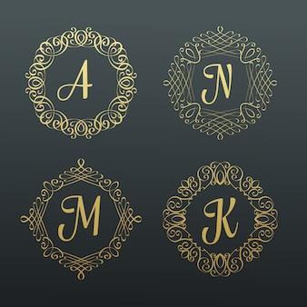 Monogramas e bordas caligráficas.