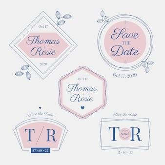 Monogramas e logotipos elegantes do casamento