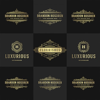 Monogramas e logotipos vintage conjunto floresce elegante modelo de estilo vitoriano de ornamentos graciosos de arte de linha