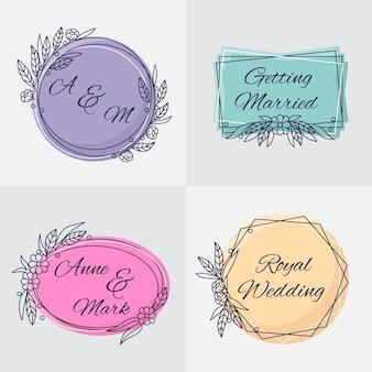 Monogramas elegantes do casamento do design