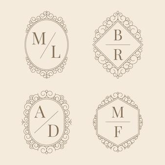 Monogramas elegantes do casamento