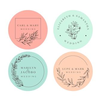 Monogramas minimalistas de casamento em tons pastel