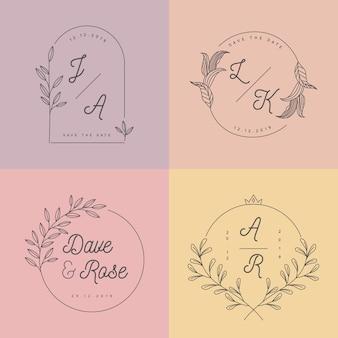 Monogramas minimalistas do casamento das cores pastel
