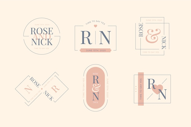 Monogramas rosa minimalistas elegantes para casamento