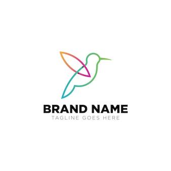 Monoline bird logo inspiração tecnologia