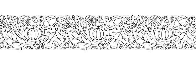 Monoline de ornamento padrão sem emenda com bolotas, abóbora e folhas de carvalho de outono