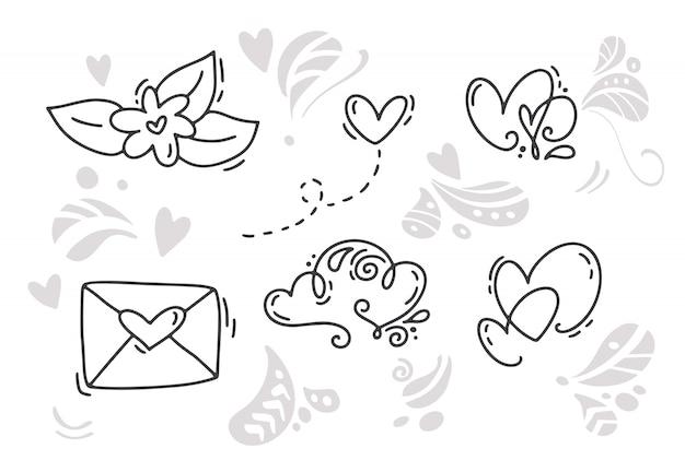 Monoline dia dos namorados mão desenhada elementos