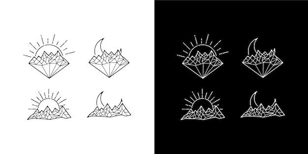 Monoline diamond design vintage arquivo zip