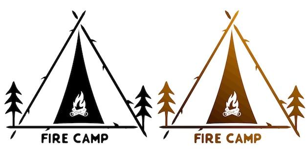 Monoline do acampamento de bombeiros para logotipo
