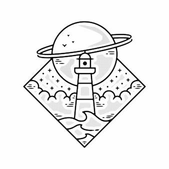 Monoline sea farol planeta vintage crachá ao ar livre design premium vector
