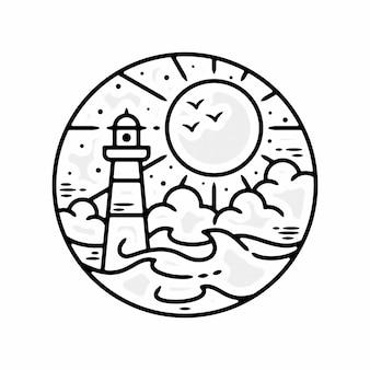 Monoline sea lighthouse vintage ao ar livre distintivo design premium vector