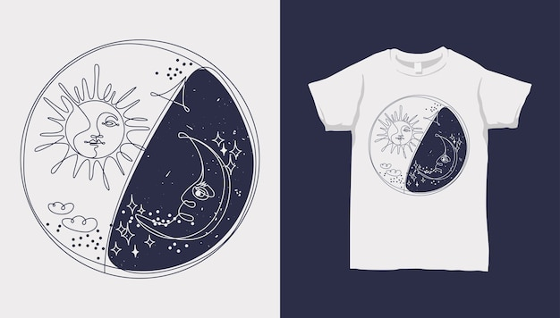 Monoline sol e lua, estrela e nuvem, yin yang, com design de camiseta