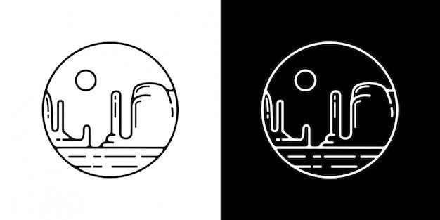 Monoline vintage badge no deserto
