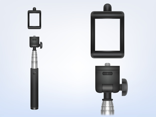 Monopé realista 3d para smartphone, titular do telefone para foto, selfie-stick.
