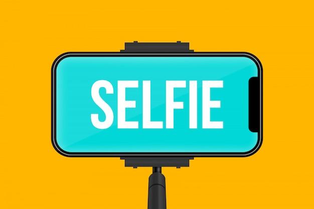 Monopé selfie pau, tela móvel do telefone vazio.