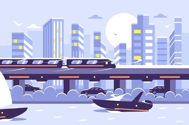 Monotrilho de metrô futurista sobre a paisagem urbana ao pôr do sol