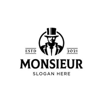 Monsieur cavalheiro barba bigode vintage logotipo premium