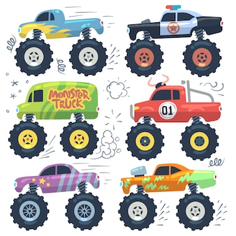 Monster cars. carros de desenhos animados com rodas grandes. conjunto isolado vector