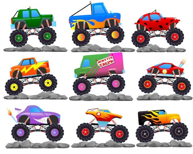 Monster cars. carros dos desenhos animados com rodas grandes