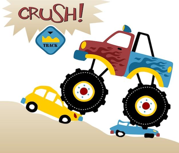 Monster truck cartoon vector Vetor Premium