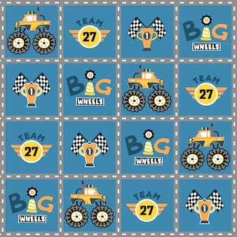 Monster truck race cartoon on pattern vector Vetor Premium